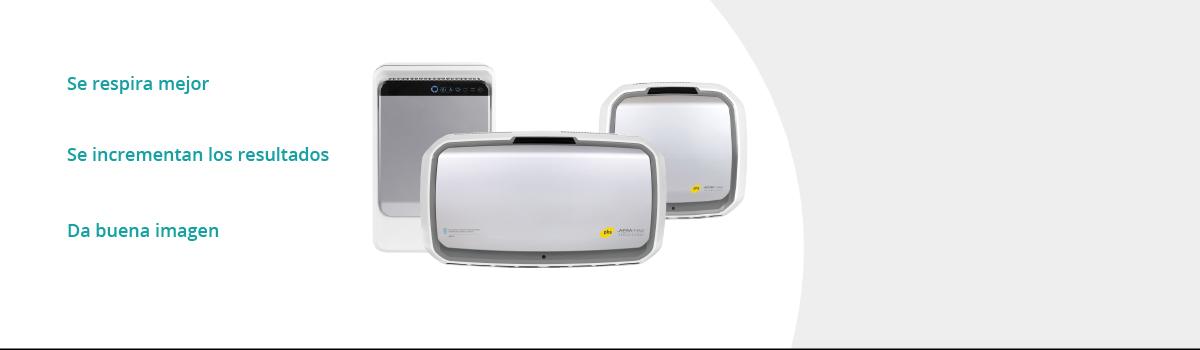 Purificadores de aire marca Aeramax Pro. Tres clases diferentes en PHS Serkonten. se respira mejor, se incrementa los resultados y da buena imagen